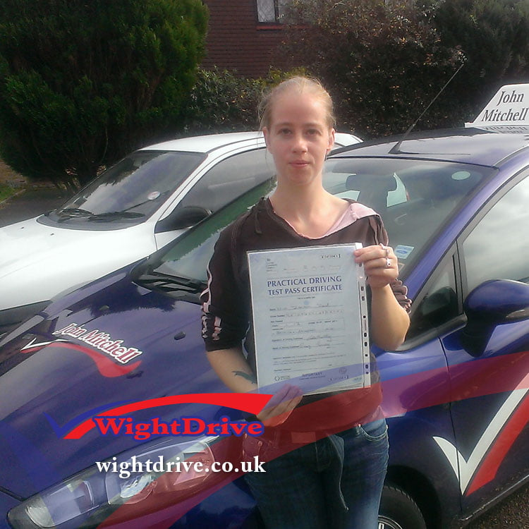 Terissa-Reid-driving-test-pass-2014-with-John-Mitchell-isle-of-wight-driving-instructor