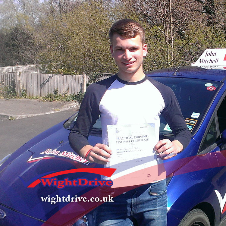 Jonathan-East-driving-test-pass-2015-with-John-Mitchell-isle-of-wight-driving-instructor